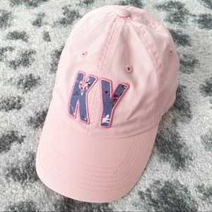 Pink Baseball Hat With Blue Floral KY